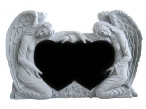 Double Heart Double Angels Tombstone